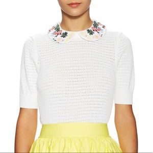 Alice +Olivia Remmie Embroidered Peter Pan Sweater